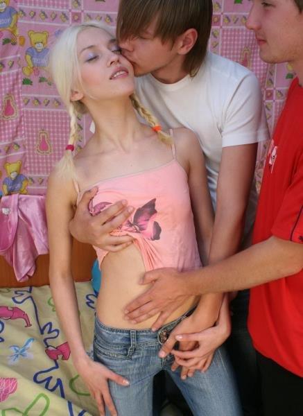 MyTeenVideo: Sheila - Blonde Russian Teen Try Threesome Sex 576p